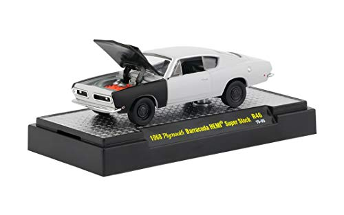 (M2 Machines 1968 Plymouth Barracuda HEMI-Super Stock (Gray Primer w/Semi-Gloss Black Hood & Fender) - Detroit Muscle Release 46 2018 Castline Premium Edition 1:64 Scale Die-Cast Vehicle (R46 19-05))