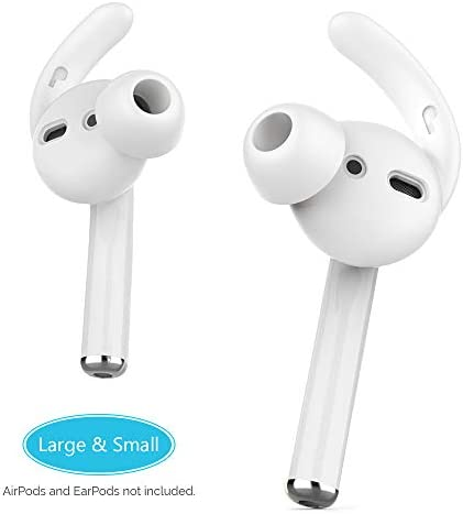 AhaStyle 2 Pairs AirPods Ear Hooks Tips Earbuds Covers [Added Storage Pouch] Compatible with Apple AirPods 2 and 1 or EarPods[2 Pairs- Large & Small](White)