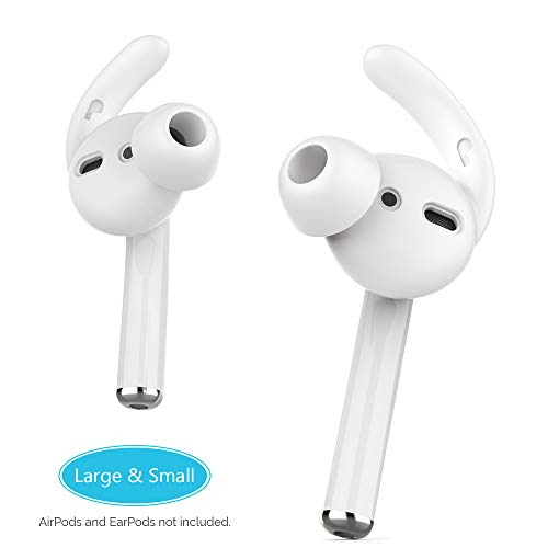 AhaStyle AirPods Ear Hooks Silicone Earbuds Covers [Sound Quality Enhancement] Compatible with Apple AirPods 2 & 1 or EarPods[2 Pairs- Large & Small](Clear) (Canal Ear Phones)