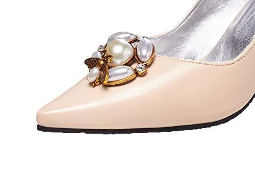 Tacco Ballet Studded flats Luccichio Fbuidd007173 Allhqfashion Beige Alto Donna Tirare qxwn6SnY7E