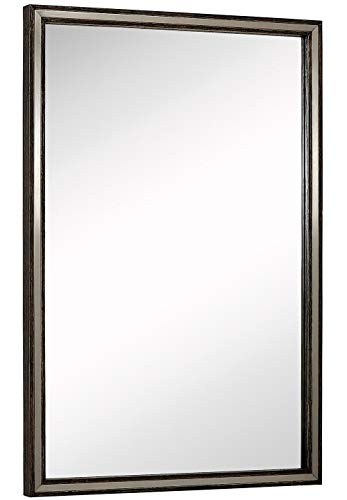 """Hamilton Hills Large Metal Inlaid Wood Frame Wall Mirror 