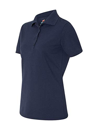 Hanes Ladies' 6.5 oz. X-Temp® Piqué Short-Sleeve Polo with Fresh IQ M NAVY