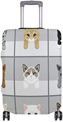 (ソレソレ)スーツケースカバー 防水 伸縮素材 キャリーカバー ラゲッジカバー おもしろ 猫柄 ねこ グレー かわいい 可愛い 可愛い おしゃれ 防塵 旅行 出張 便利 S M L XLサイズ