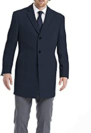 Calvin Klein mens Prosper Solid Single Breasted Wool Blended Overcoat Extreme Fit