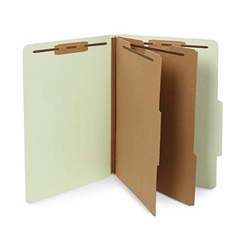 Legal Partitions - 10 Legal Size Classification Folders- 2 Divider-2'' Tyvek expansions- Durable 2 Prongs Designed to Organize Standard Law Client Files, Office Reports- Legal Size, 10 Folders (Gray/Green)