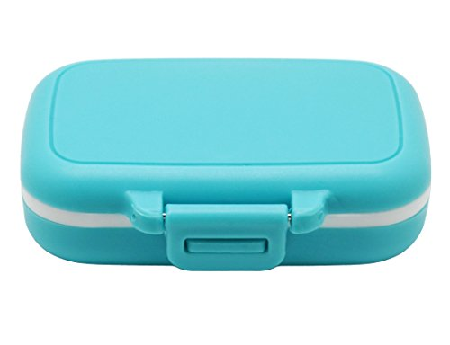 (Meta-U Small Pill Box Supplement Case for Pocket or Purse - 3 Removable Compartments Travel Medication Carry Case - Daily Vitamin Organizer Box (Blue) )