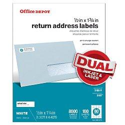 Office Depot White Inkjet/Laser Return Address Labels, 1/2in. x 1 3/4in., Pack Of 8,000, 505-O004-0014