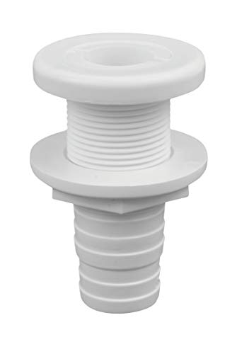 attwood 3874-3 Polypropylene Durable Thru-Hull Connector Fitting, White Finish (Boat Thru Hull Connector)