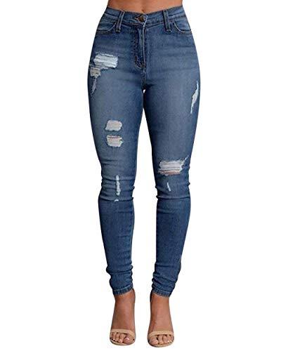 Huixin Acogedor Las Flaco Bolsillos Stretch Pantalón Mujeres Cintura Con Mezclilla Alta Vaqueros Pantalones Blau Botón Apenadas Lápiz De Estiramiento HqxfrHawp