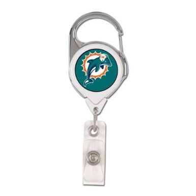 Miami Dolphins Team Colors - WinCraft NFL Miami Dolphins Retractable Premium Badge Holder, Team Color, One Size