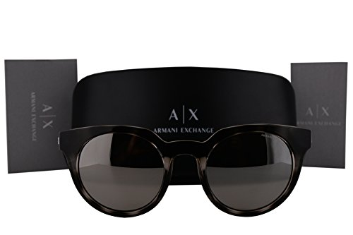 Armani Exchange AX4062S Sunglasses Gray Top Gray Havana w/Light Gray Mirror Silver Lens 82166G AX - Armani For Women Sunglasses