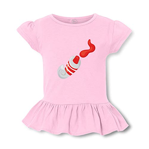 (Tube Paint Red Short Sleeve Toddler Cotton Girly T-Shirt Tee - Soft Pink, Large)