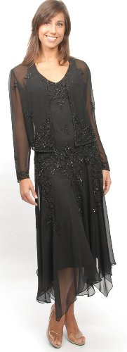 The Evening Store Chiffon Missy & Plus Size Handkerchief Hem Beaded with Jacket Navy (4X Blk, (Plus Size Stores)