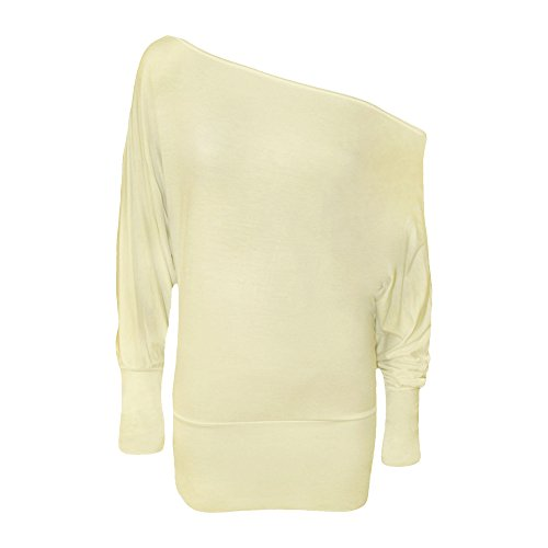 Womens Celeb Off hombro Batwing Slash cuello Top – Top de manga larga para 8 –�?6 Cream - Ladies Slash Neck Top