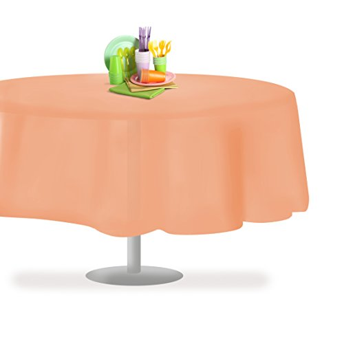 Grandipity Peach 12 Pack Premium Disposable Plastic Tablecloth 84