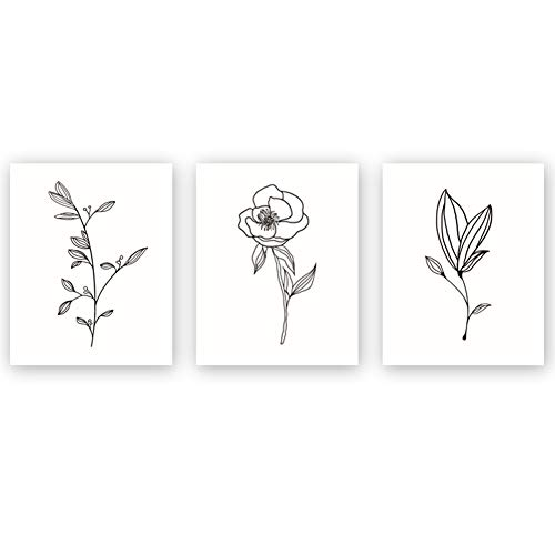 Unframed Abstract Flower Art Print Nordic Style Black&White Rose Leaf Art Wall Plant Painting, Set of 3(8''X10'') Canvas Poster for Modern Wall Decor,Housewarming -