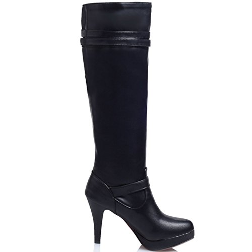 KingRover Womens Ladies Stretch Wide Calf Buckle Platform Leather Riding Knee Boots Size 1-10 Black CyzarXT