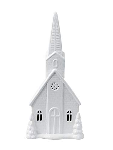 Alpine White Ceramic Church Statue, 17 Inch Tall