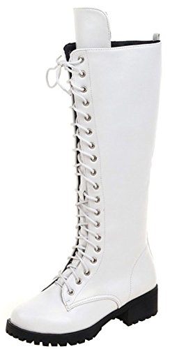 Easemax Women's Dressy Round Toe Lace Up Mid Chunky Heel Martin Knee High Booties White l2WpP