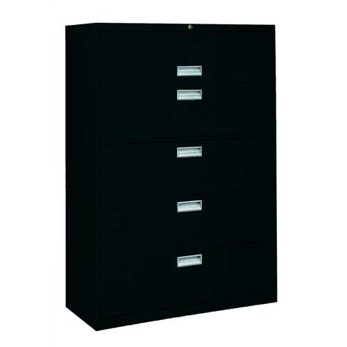 Sandusky Lee LF6A365-09 600 Series 5 Drawer Lateral File Cabinet, 19.25'' Depth x 66.375'' Height x 36'' Width, Black by Sandusky