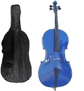 Merano 4/4 Full Size Blue Student Cello with Bag and Bow+2 Sets of Strings+Pitch Pipe+Cello Stand+Black Music Stand+Rosin