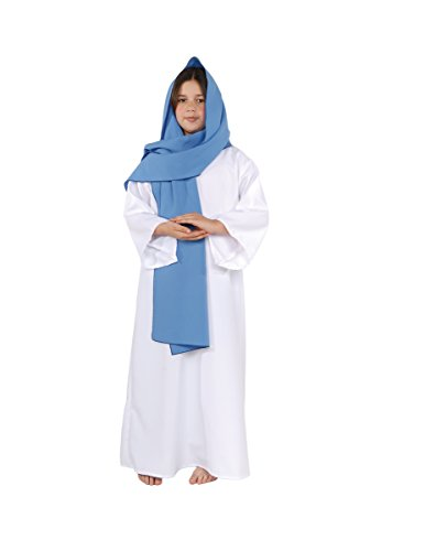 (Little Girl's Biblical Virgin Mary Reenactment Costume, White/Light Blue,)