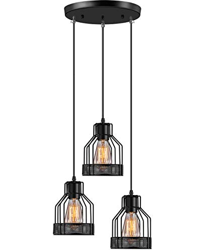Industrial Pendant Lighting Licperron E26 Base Edison Metal Caged Vintage Hanging Pendant 3-Lights Rustic Pendant Light Fixture for Kitchen Dining Room Bar ()