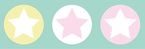 lovely label Bordüre selbstklebend STERNE BUNT - Wandbordüre Kinderzimmer / Babyzimmer mit Sternen in versch. Farben - Wandtattoo Schlafzimmer Mädchen & Junge, Wanddeko Baby / Kinder