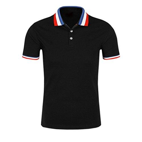 SanVera17 Men's Classic Solid Short Sleeve Performance Polo Shirt T-Shirt Black US S
