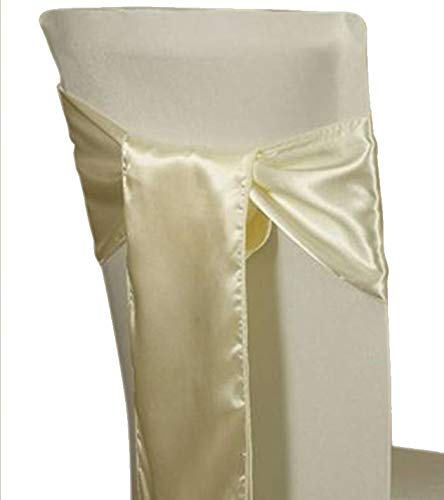 mds Pack of 150 Satin Chair Sashes Bow sash for Wedding and Events Supplies Party Decoration Chair Cover sash -Ivory