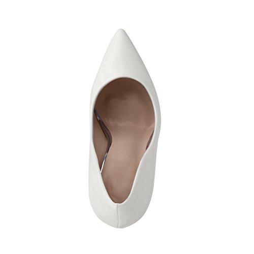 Weiß Damen Lack Elara Spitze Bequeme Elegante Stilettos Pumps Heels High London 1xaxq