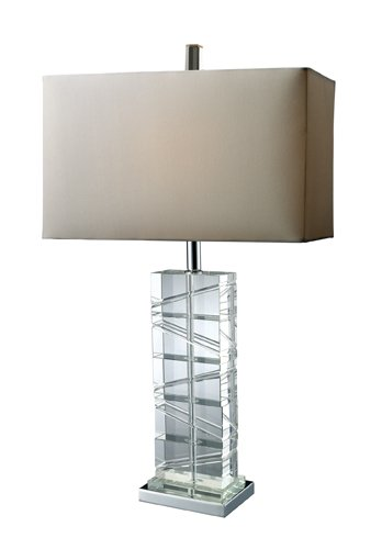Dimond D1813 15-Inch Width by 23-Inch Height Avalon Table Lamp in Clear Crystal and Chrome with Pure White Faux Silk Shade and Pure White Fabric Liner
