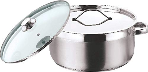 Vinod Stainless Steel Two Tone Saucepot with Glass Lid   16 cm, 1.5 Ltr  Induction Friendly