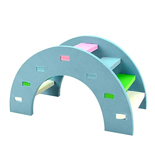 SUJING Rainbow Play Bridge,Wooden Ladder Bridge, Hamster Mouse Rat Rodents Toy Funny Hamster Toy (Blue, M:14x7x8cm)