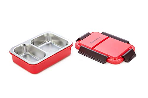 Bento Box with Clip on Lid – Leak Proof 2 Compartment Lunch Box – Double Walled - BPA Free with Stainless Steel Inner Lining for a More Enjoyable Meal or Snack – Dishwasher Safe (Red)