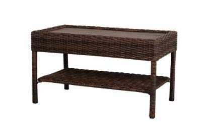 (Hampton_Bay_BBS101 Wicker Outdoor Coffee Table with Powder-Coated Steel Frame in Brown Finish)
