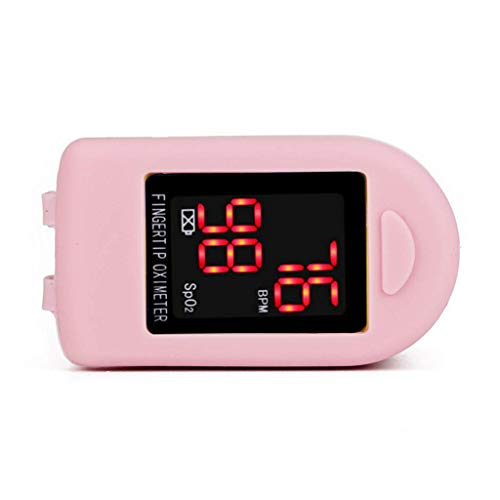 Hootiny Led Oximeter Portable Blood Monitor Saturator Finger Oximeter Detection Blood Pressure Meter Equipment,Pink