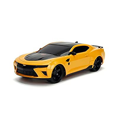 Jada Toys Transformers The Last Knight Bumblebee 2016 Chevy Camaro RC Car, 1:16 Scale Remote Control Vehicle, Yellow & Black: Toys & Games
