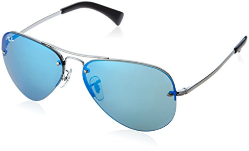 Ray-Ban RB3449 Aviator Sunglasses, Gunmetal/Blue Mirror, 59 -