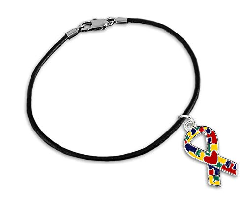 Autism Ribbon with Heart Leather Cord Bracelet in a Gift Box (1 Autism Bracelet - Retail) ()
