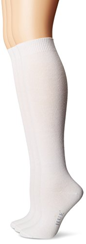 (HUE Women's Flat Knit Knee Socks (Pack of 3),White,One Size)