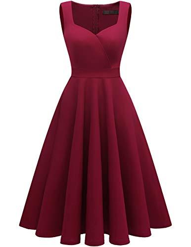 DRESSTELLS Women's Bridesmaid Sleeveless Ruched Tea Dress Cocktail Swing Party Dress Burgundy M ()