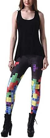 Tetris element funny printed leggings dress up pencil pants under high elastic ladies leggings