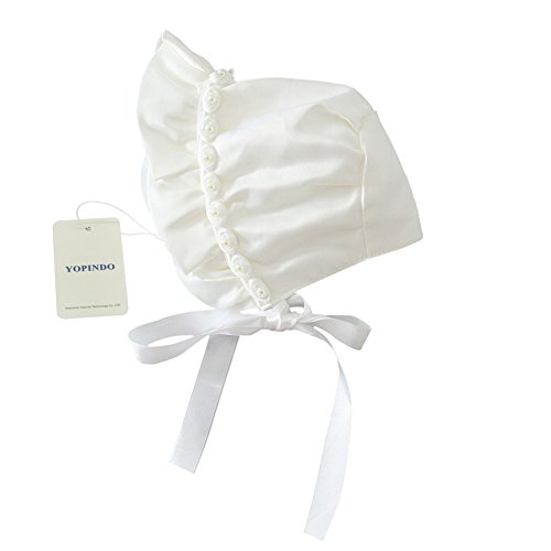 - YOPINDO Baby Girls Infant Rose Ribbon Bonnet with Chin Strap Closed Back Hat, Newborn 0-12 Months(0-12 months)