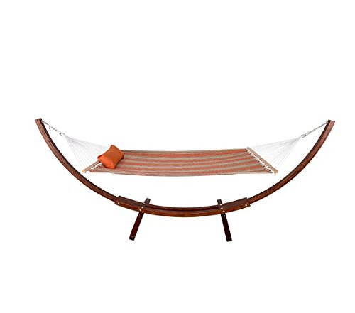 HomyDelight Fabric Hammock, Pillow and 12 Feet Wood Arc Stand,Backyard Combo Set, Passage Poppy,Russian pine coated with varnish 165
