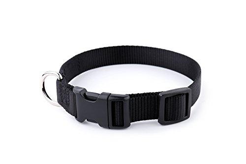 Top Dog Nylon Collar (Sofi's Nylon Adjustable Dog Collar – Soft and Pliable - Strong Quick Release Plastic Buckle – Zinc Alloy Loop for Leash Attachment (Medium, Black))