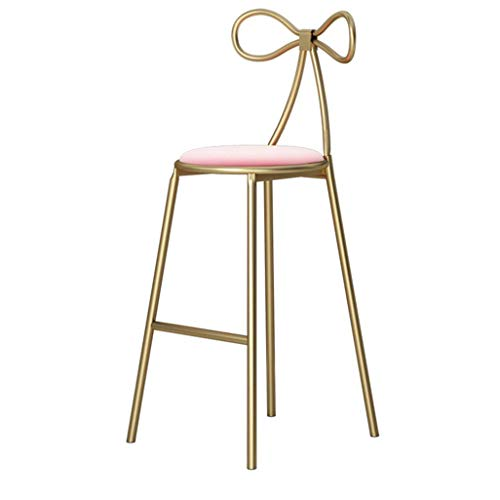 - Chuan Han Chair Retro Footstool Stool with Butterfly Back Round Pink Cushion Seat Dining Chair Kitchen, Gold, 43x40x75cm
