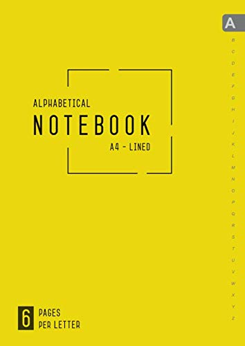Alphabetical Notebook A4: 6 Pages per Letter | Lined-Journal Organizer Large with A-Z Tabs Printed | Smart Design Yellow