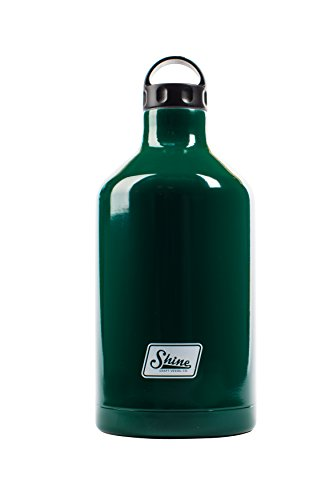 Water Bottle Stainless Steel Vacuum Insulated Wide Mouth by Shine Craft Vessels | Thermos Flask Keeps Water Stay Cold for 24 hours, Hot for 10 hours BPA Free ( Deep Forest Green ) - Growler 64 oz by Shine Craft Vessels