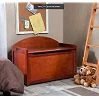 Top Seller Most Popular Solid Beechwood Frame Lid Wood Kids Child's Toy Chest Storage Box Organizer- Exquisite Cherry Finish Roomy Perfect For Bedroom Den Play Room- Spacious Solid Striking- Perfect